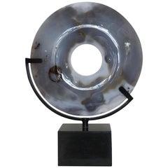 Madagascar Agate Disc with Granite Base