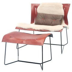 "Chair Set ""Couio Lounge"" by Manufacturer Walter Knoll with Stool, Fur and Pillow"