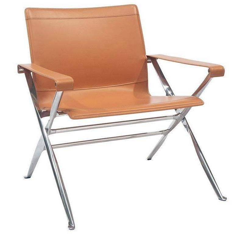"""Armchair """"Beverly"""" by Manufacturer B&B Italia in Polished Aluminium and Leather"""