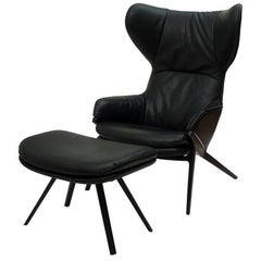"""Armchair """"P22"""" with Stool by Cassina in Aluminum and 100% Genuine Leather"""