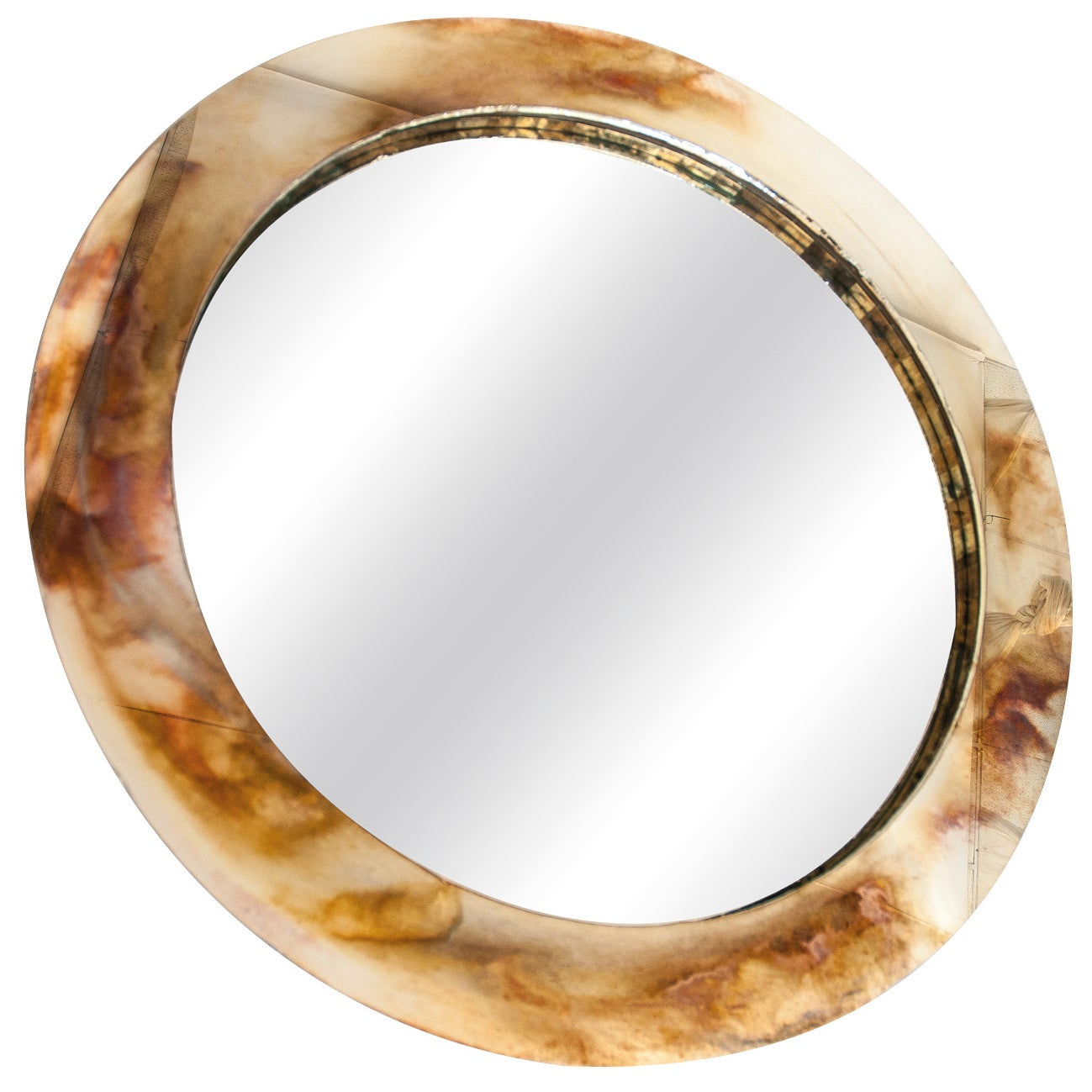 """Life"" contemporary mirror, central mirror, bronzed silvered glass ring,Birch"