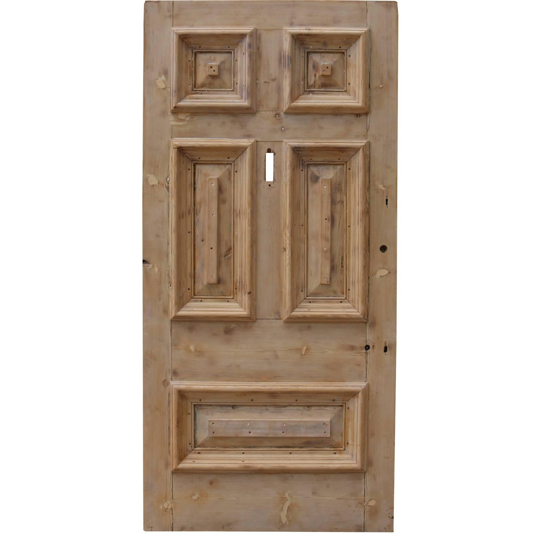 Exceptionnel 19th Century Stripped Pine Front Door For Sale