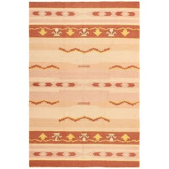 Antique Swedish Kilim Rug. Size: 5 ft 4 in x 8 ft (1.63 m x 2.44 m)