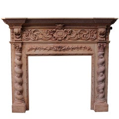 Grand 19th Century Deeply Carved Pine and Oak Fire Surround
