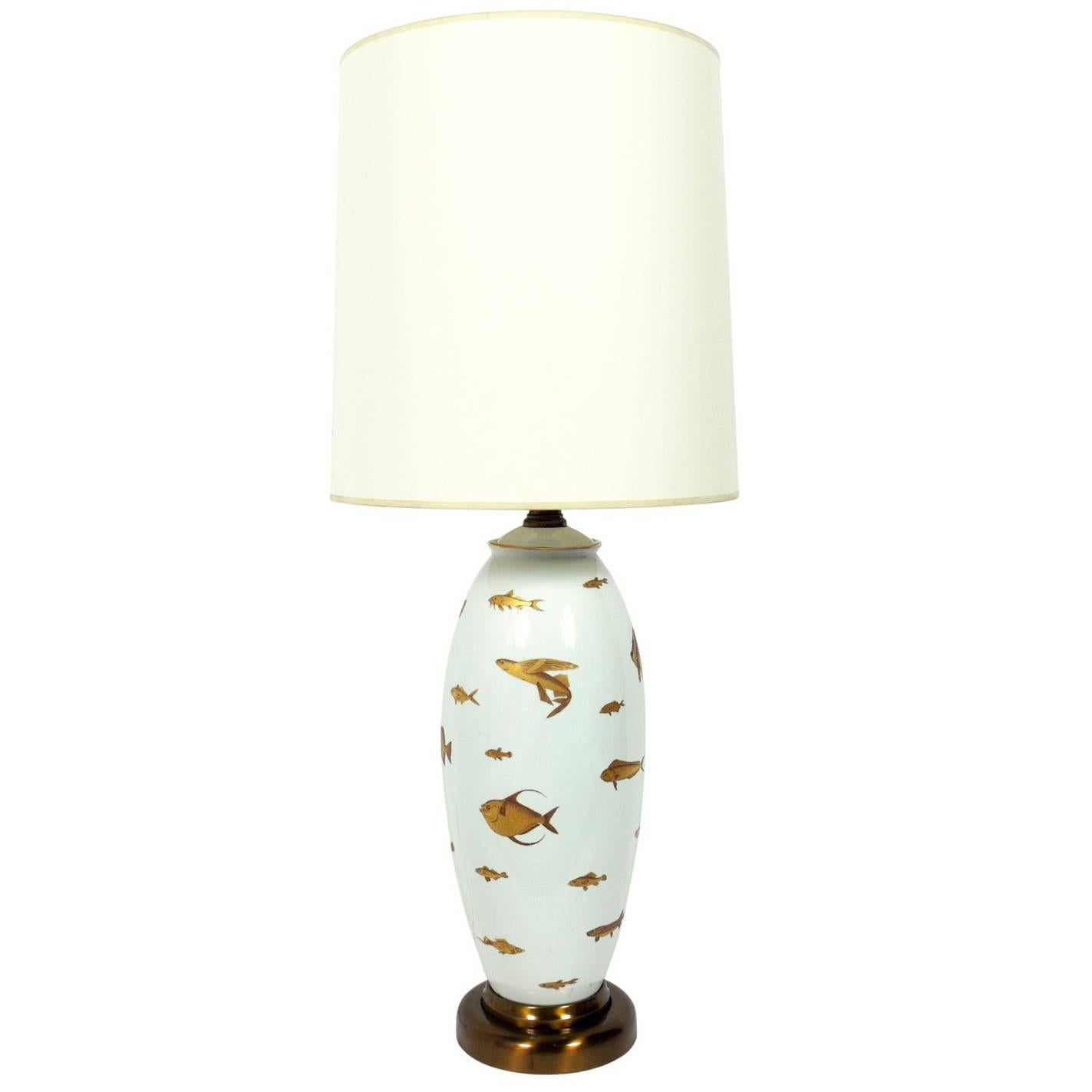White And Gold Porcelain Fish Lamp For Sale