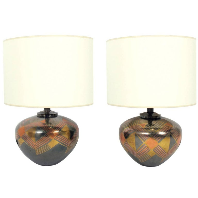 Mixed Metal Lamps in the Manner of Karl Springer