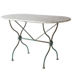 French Bistro Table with an Oval White Marble-Top, circa 1880