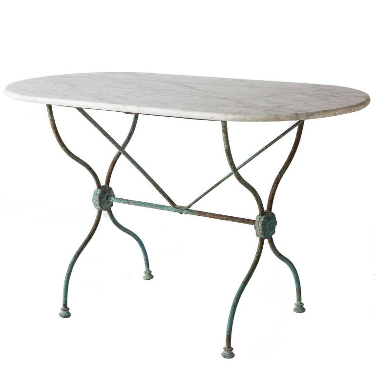 French Bistro Table with an Oval White Marble-Top, circa 1880 1