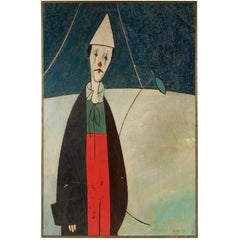 Large-Scale European Mid-Century Clown Painting