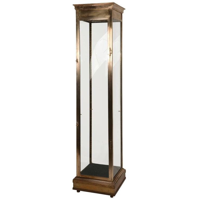 Vertical Brass Vitrine For Sale