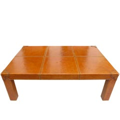 Stitched-Leather Clad Coffee Table