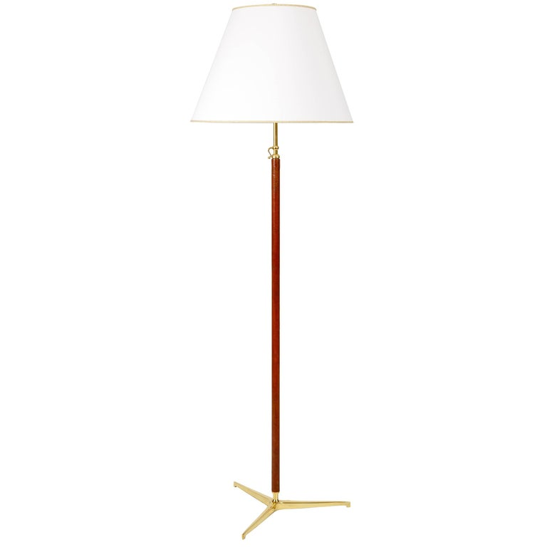 Gino Sarfatti for Arteluce Rare Brass and Leather Floor Lamp, Model 1025, Italy
