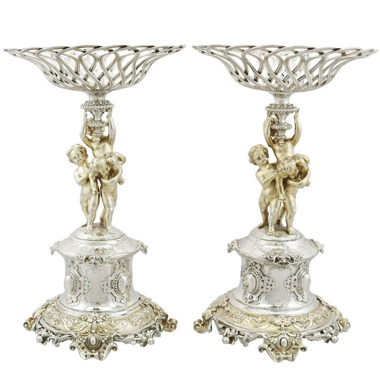 1860s Victorian Sterling Silver Centrepieces