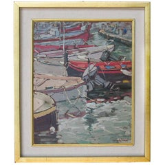 "Italian painting ""Boats in the Port of Camogli ""oil on canvas"
