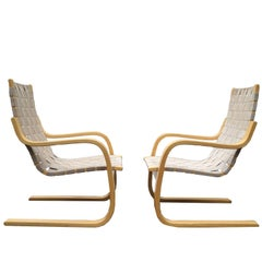 Pair of Alvar Aalto Bentwood 406 ICF Lounge Chairs