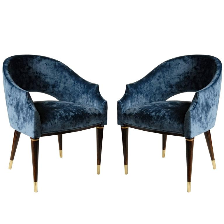 Armchair, Midcentury Style, Luxury Details, Blue Cloudy Velvet, Italia For Sale