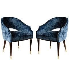 Armchair, Midcentury Style, Luxury Details, Blue Cloudy Velvet, Italia