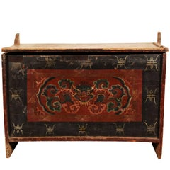 Antique Tibetan Polychrome Decorated Lift Top Trunk