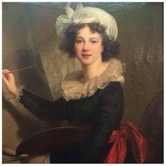Stunning Italian Portrait of Elisabeth Louise Vigee-Lebrun