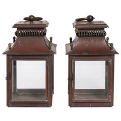 Pair of Red Tole Lanterns