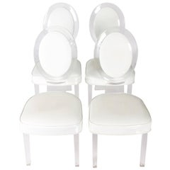 Set of Four Lucite White Patent Leather Dining Chairs