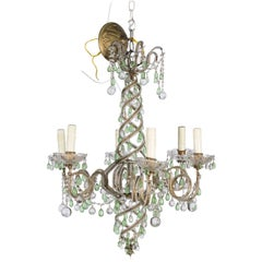 Green and White Six-Light Crystal Chandelier