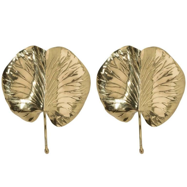 Pair of Chapman Leaf Sconces