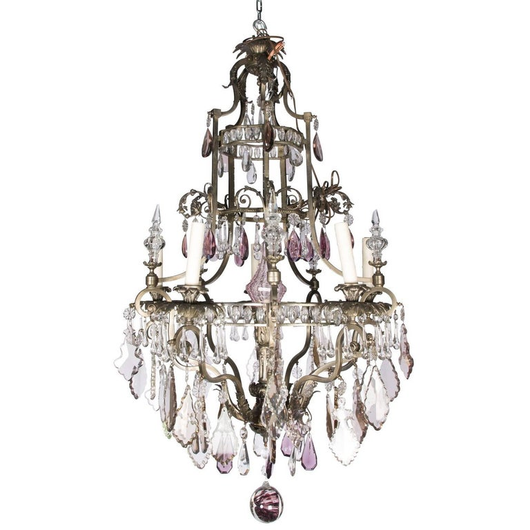 Louis XVI Style Six-Light Crystal Chandelier For Sale