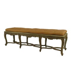 Green-Painted And Carved French Regence Style Bench