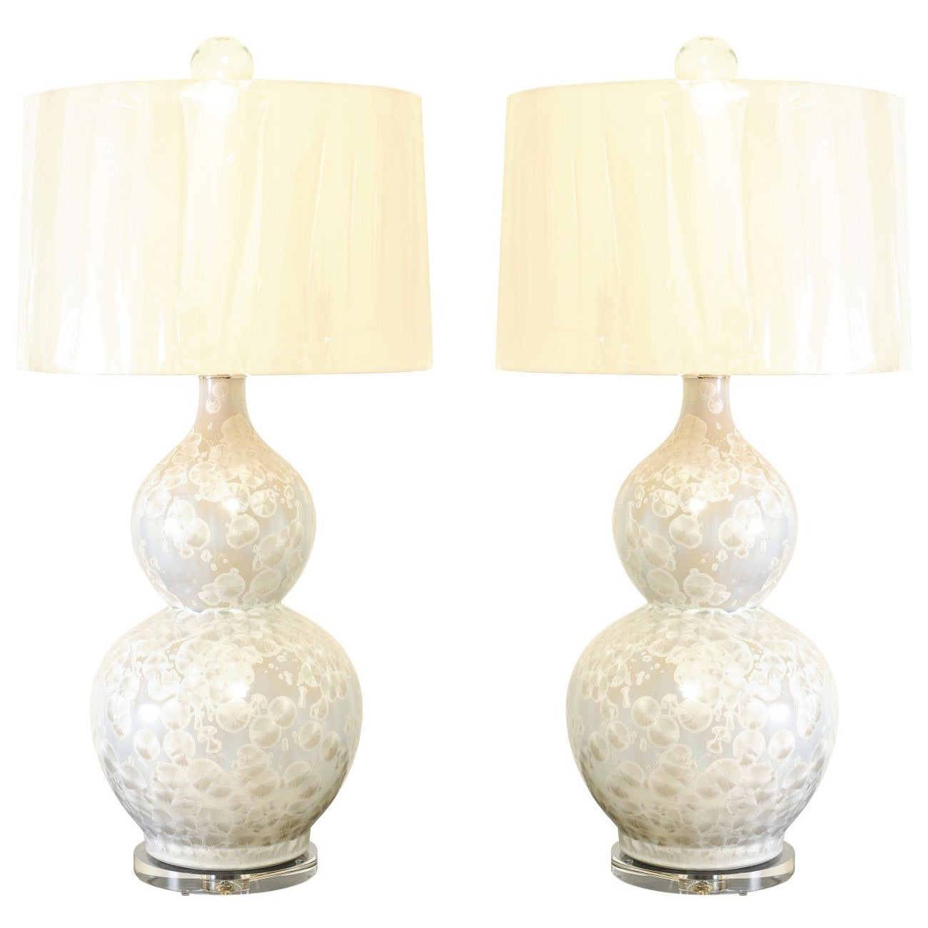 Sophisticated Pair of Large Fish-Scale Glaze Ceramic Double Gourd Lamps