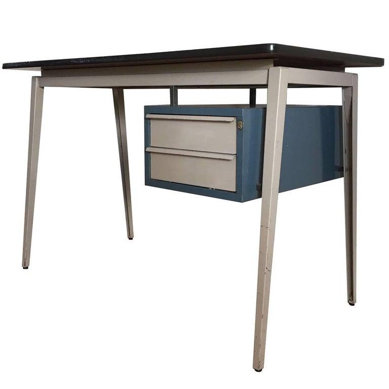 Grey Friso Kramer and Prouvé Style Desk, by Marko, 1950s-1960s