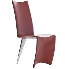 """Ed Archer"" Leather and Polished Aluminum Chair by Philippe Starck for Driade"