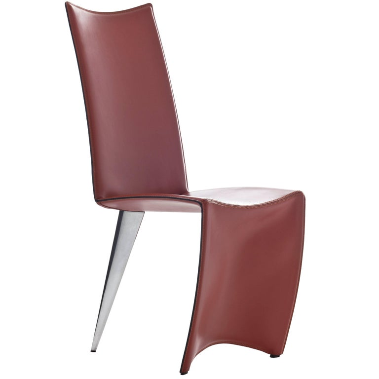 """""""Ed Archer"""" Leather and Polished Aluminum Chair by Philippe Starck for Driade"""