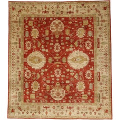 Contemporary Turkish Oushak Rug with Traditional Modern Style