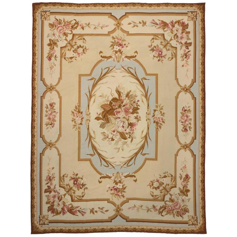 Vintage Chinese Needlepoint Rug With Aubusson Design And French Provincial Style For