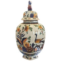 19th Century Delft Covered Urn