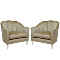 Pair of Lounge Chairs in Mohair