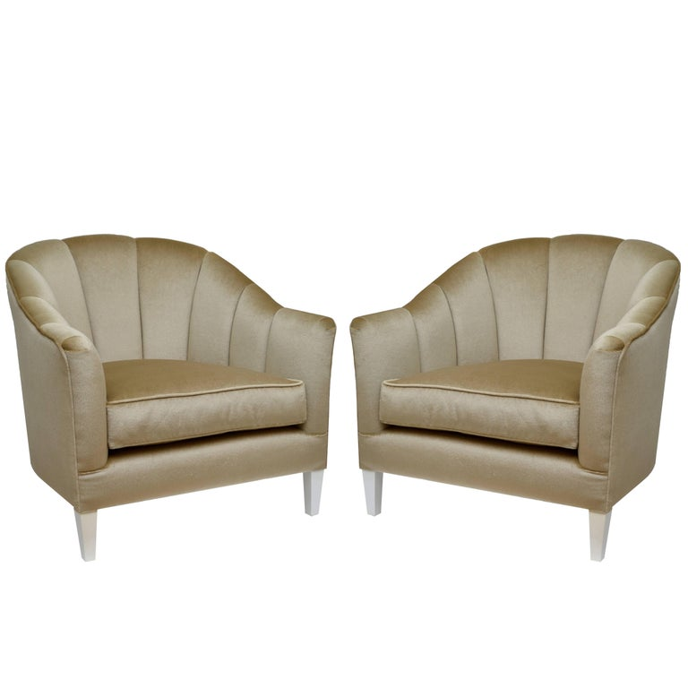 Pair of Contemporary Lounge Chairs in Mohair For Sale