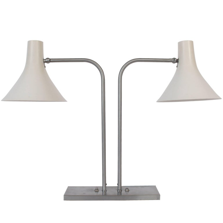 Nessen Studios Brushed Nickel Double Arm Desk Lamp With White Enamel Shades