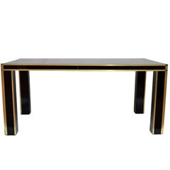 Romeo Rega Brass and Burl Wood Dining Table