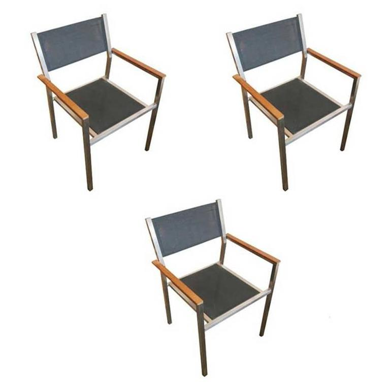 Aluminum and Teak Ozon Armchairs by Royal Botania, Set of three F