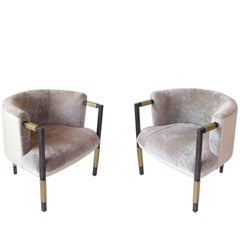 Pair of Kelly Wearstler Larchmont Chairs with Shearling Selected by Nate Berkus
