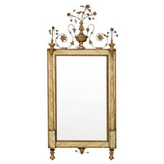 Italian Wall Mirror with Faux Marble Frame and Decorative Floral Additions