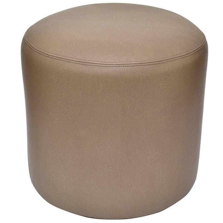Original Round Shagreen Leather Ottoman