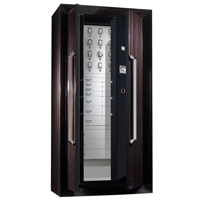Armoire in Polished Ebony with Safe and Watch Winders Anchorable to the Wall For Sale