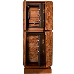 Agresti Contemporary Jewelry Armoire Safe in Elm Briar and Mahogany