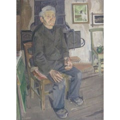 'Old Man in His Cabin', 20th Century Oil Painting on Canvas
