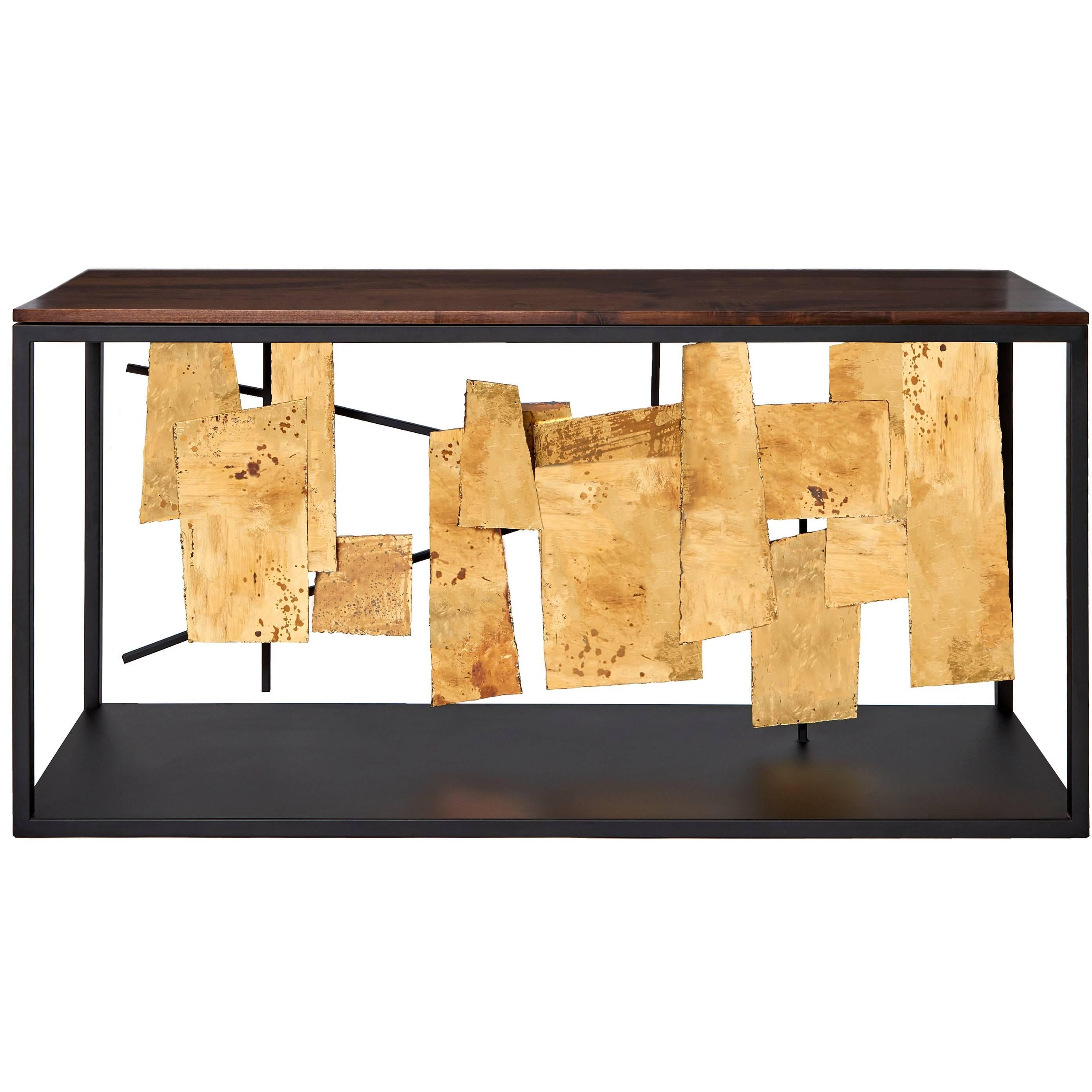 Henry Console By Morgan Clayhall, Steel, Gold Leaf And Solid Walnut For Sale