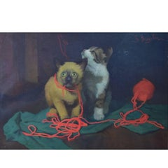 Giovanni Bragolin Italian Artist, Oil on Canvas, Two Kittens