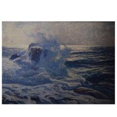 Oscar Hullgren Swedish Painter Oil on Canvas Coastal Scene